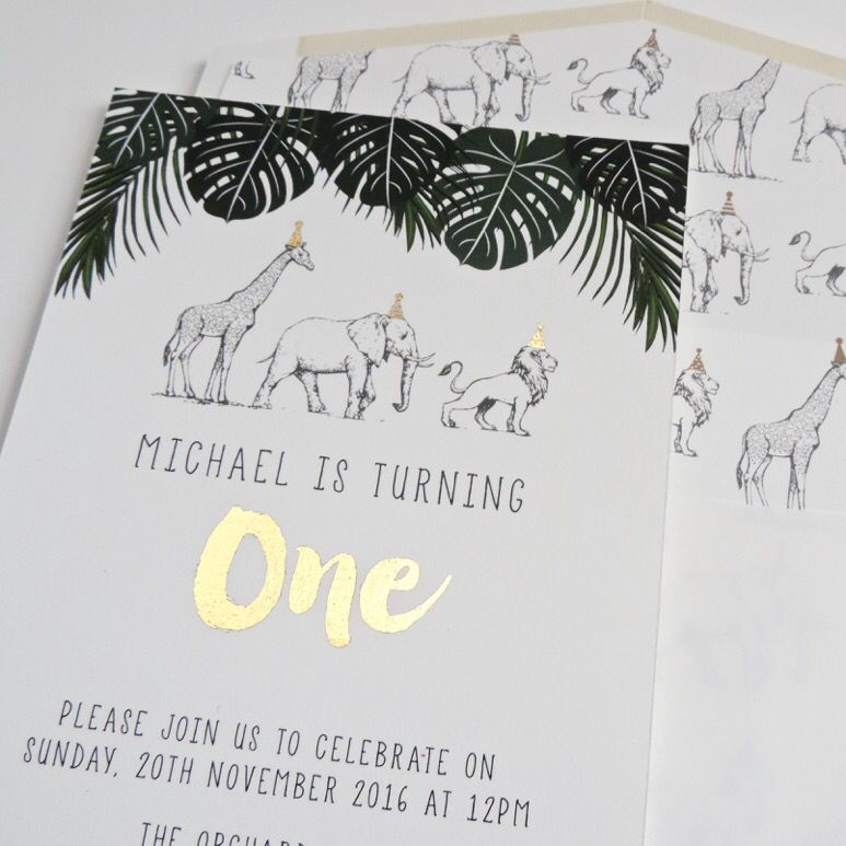 Safari jungle party invites with gold foil. | bellybubbel ...