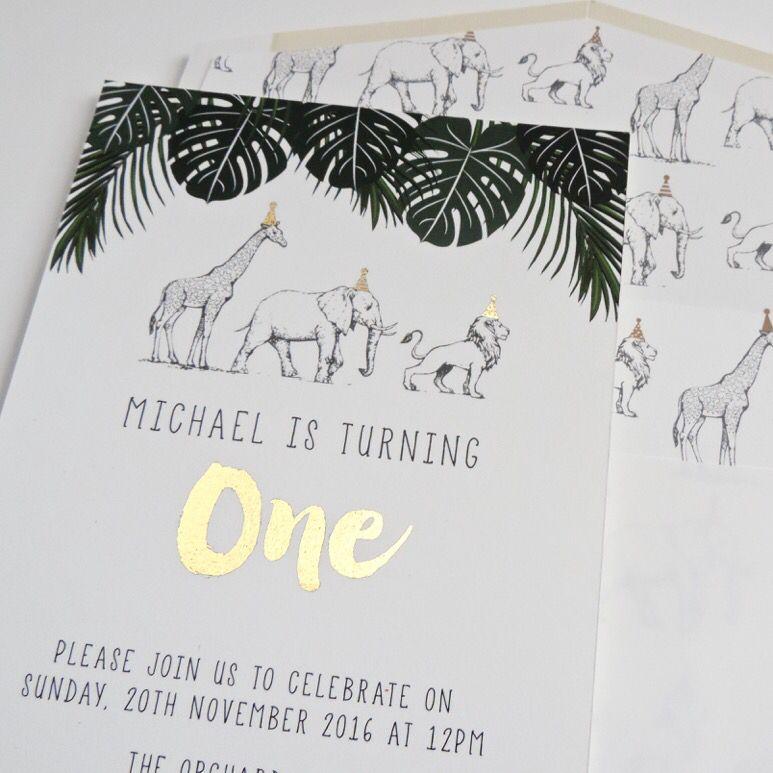 Safari jungle party invites with gold foil – Jungle Party Invitation