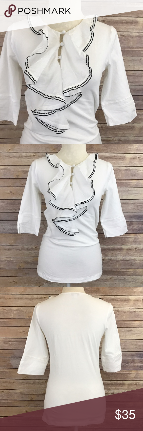 """CAbi Tip Top White Ruffled T-Shirt Style#191 S E1 Bust: 17"""" Length: 25.5""""  Condition: No Rips; No Stains  95% Cotton 5% Spandex   📦I ship orders within 24 Hours! {Except Weekends}📦  🚫No Trades🚫No Holds🚫 CAbi Tops Blouses"""