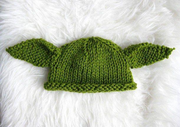 Baby Yoda Knit Hat   Hat knitting patterns, Crochet ...