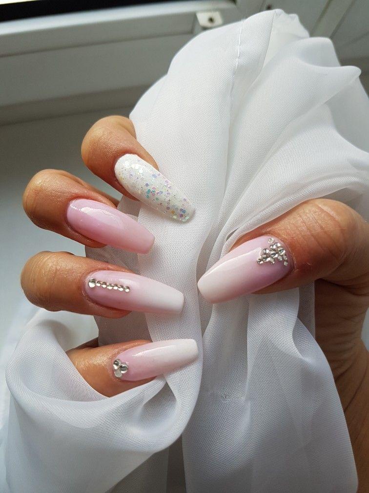 nails #ombre #pink #white #glitter #diamonds #love #summer | Nails ...