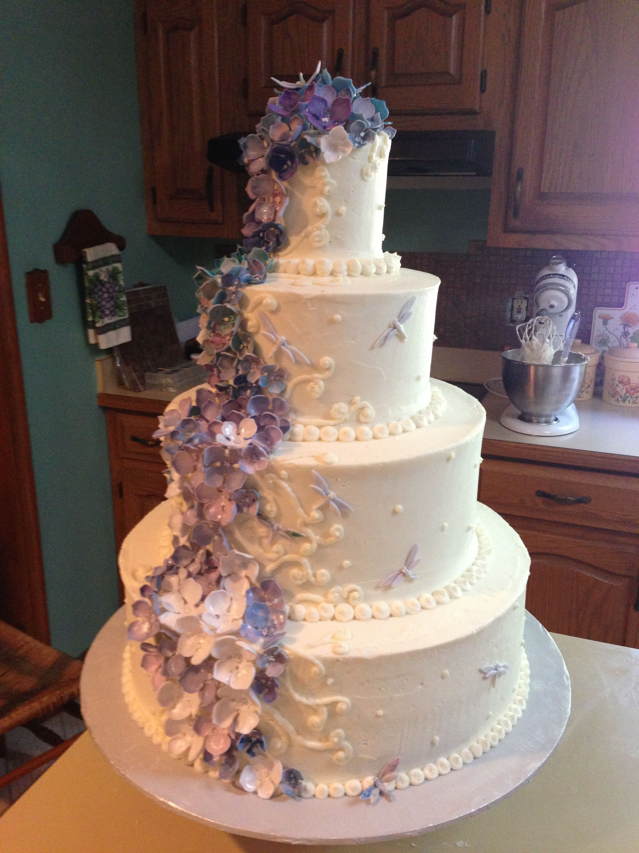 Purple blue and white Hydrangea and dragonfly wedding