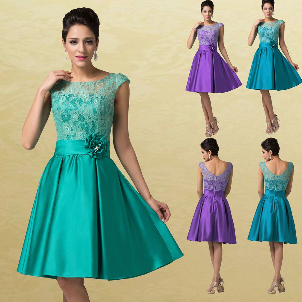 1950s Vintage Satin & Lace Formal Short Evening Gown Party Prom ...