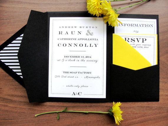 Custom Color Pocket Fold Wedding Invitation Set by punchpaper