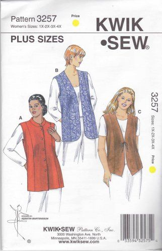 Kwik Sew Sewing Pattern 3257 Women S Plus Sizes 1x 4x Lined Vests