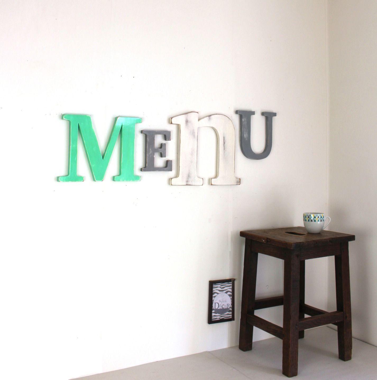 Mot g ant menu personnalis en bois vert menthe blanc et gris patin mot g ant d coration - Mot cuisine deco ...