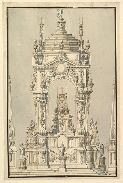 Elevation of a catafalque with royal crown and medal of the golden fleece for a