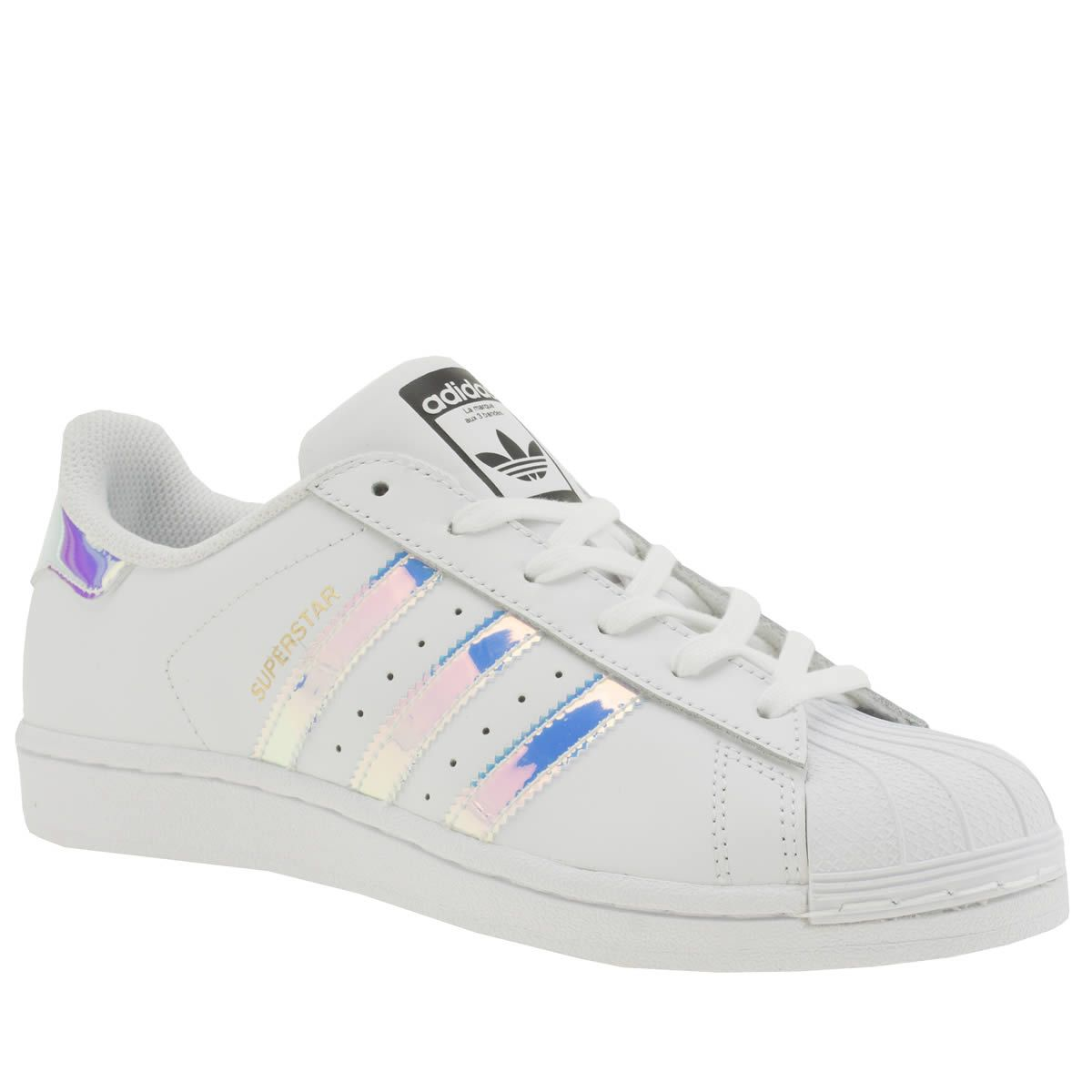 kids adidas white & silver superstar girls youth