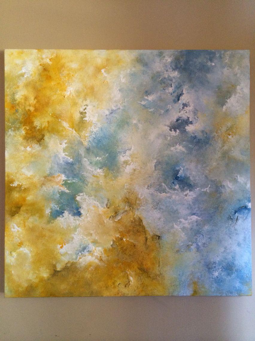 Original abstract paintingacrylics texture mediums and tissue