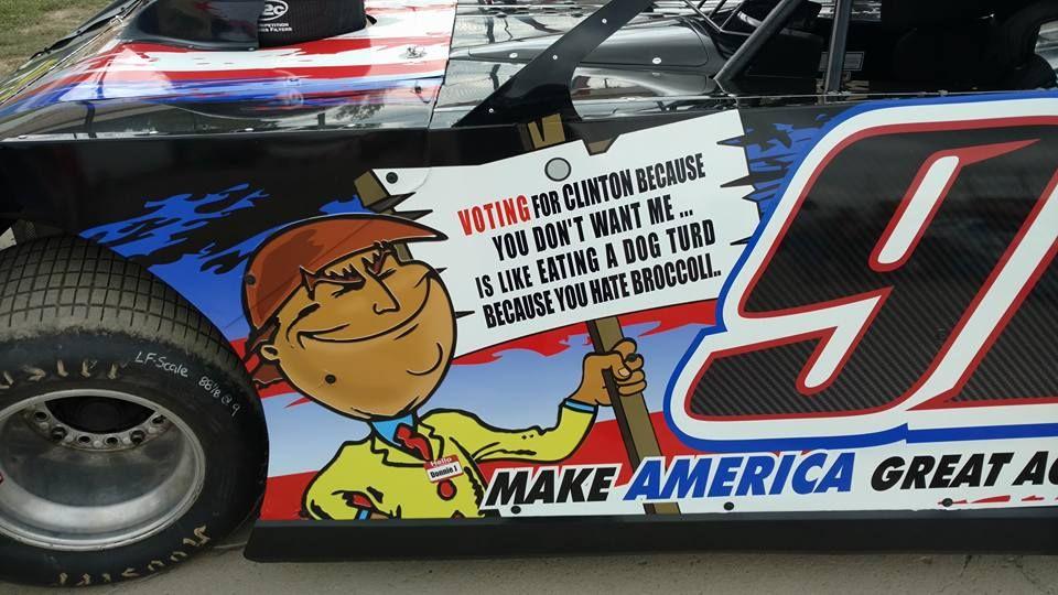 Donald Trump sponsoring Dirt Late Model racecar. View the