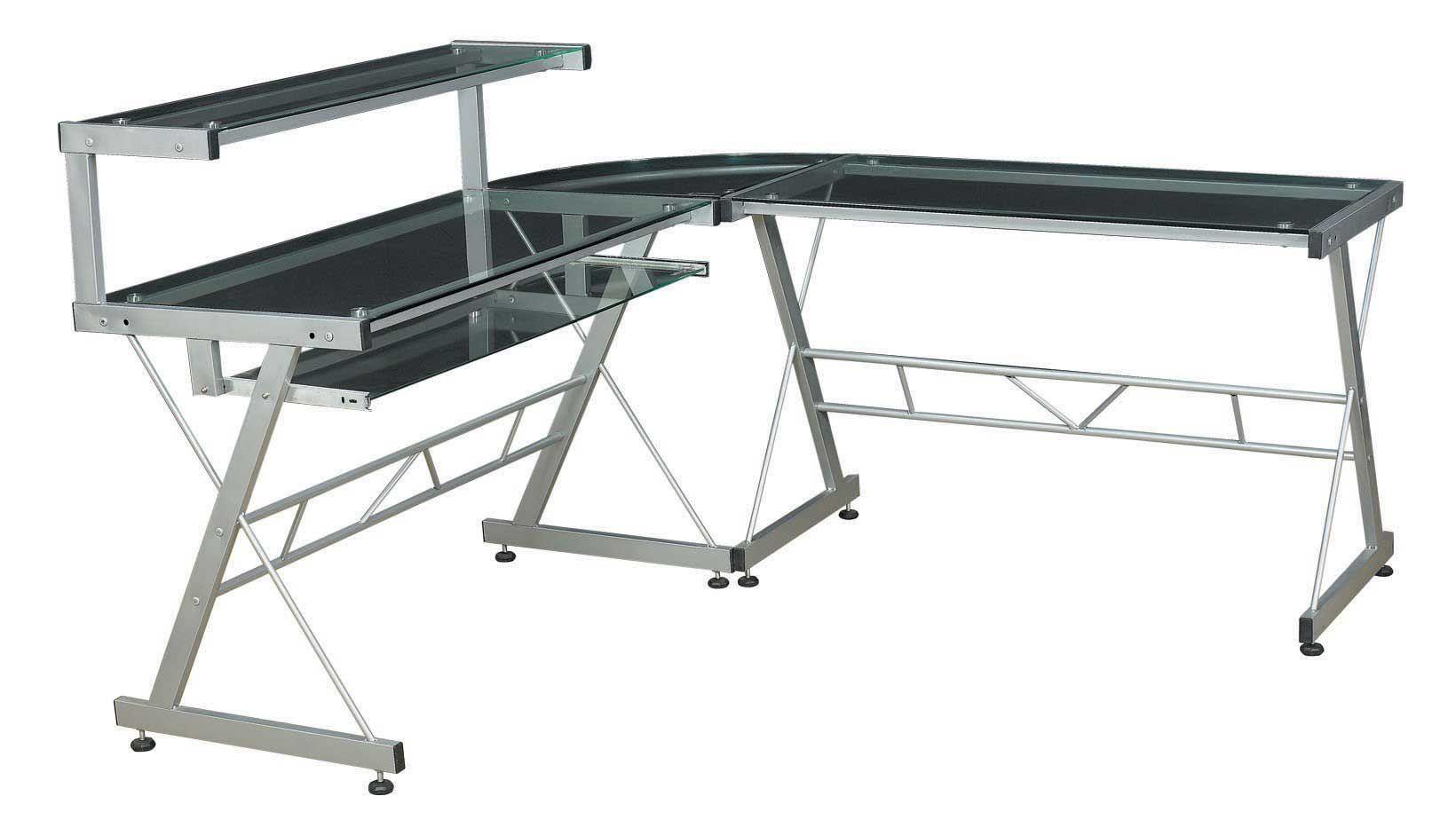 Metal Glass L Shaped Computer Desk Design Computer Desk Design