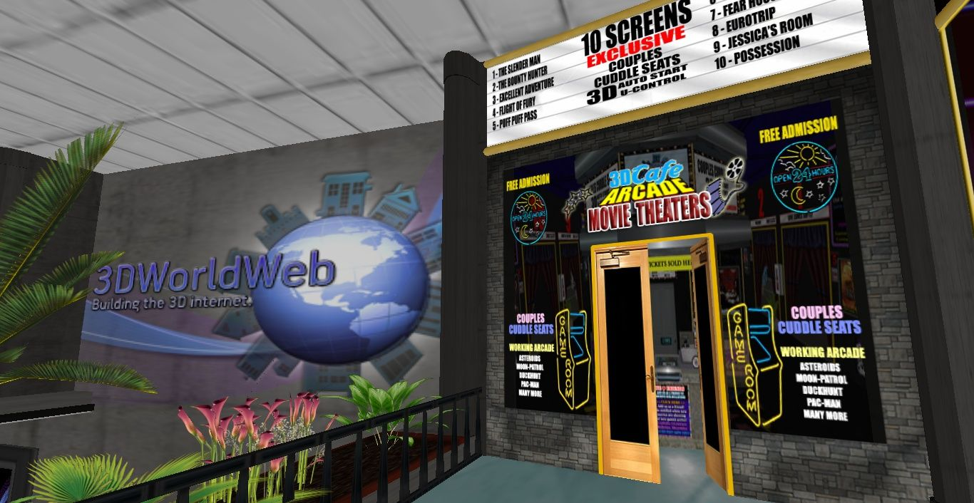 3DWorldWeb Mall is proud to feature our 3D Café, Arcade