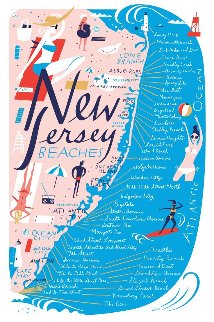 Nj Beaches Map New Jersey Beach Map   libby vanderploeg … | Art & Illustration  Nj Beaches Map