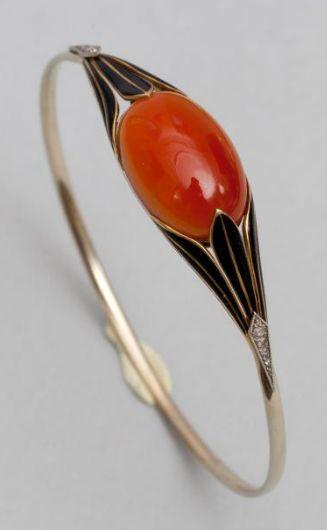 Art Deco Diamond, Onyx, Platinum & Coral Cabochon Bracelet 1920