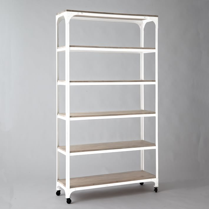 Whitewashed Wood Metal Shelves With Casters 43 W X