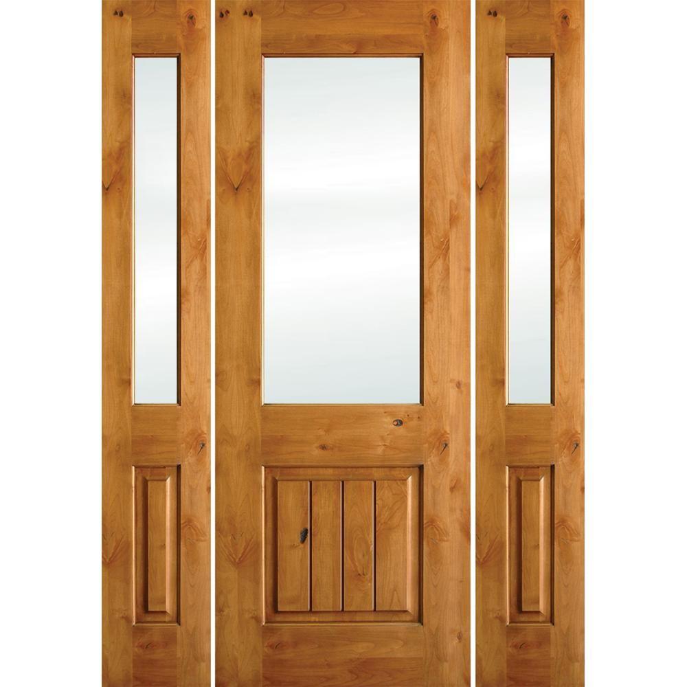 Krosswood Doors 60 In X 80 In Rustic Alder Half Lite Clear Low E V