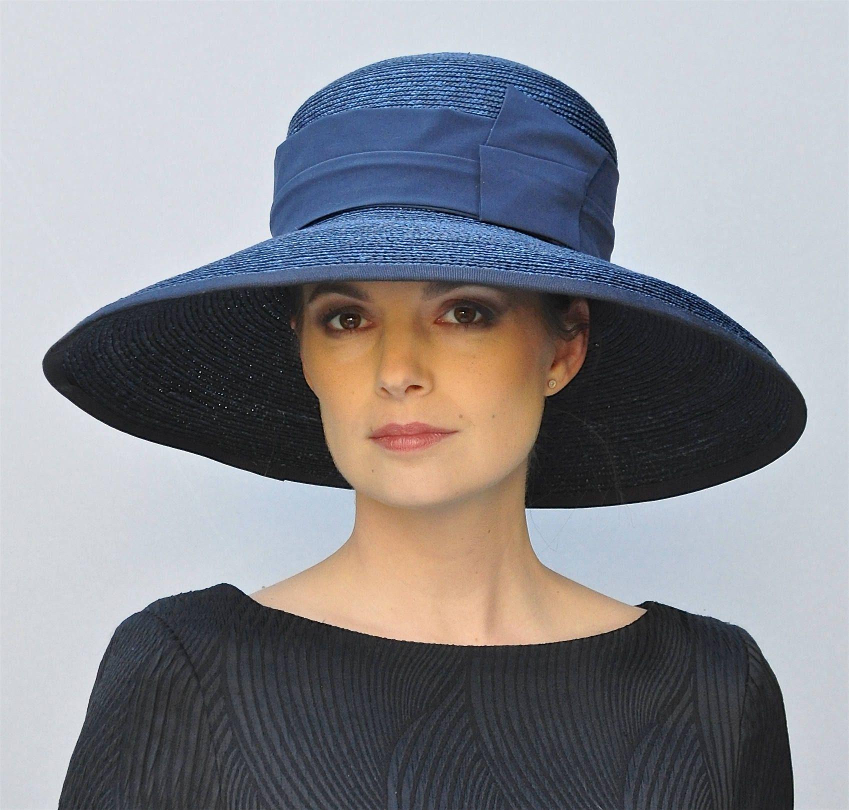 4d2e6a309d908 Wide Brim Navy Blue Hat, Wedding Hat, Church Hat, Audrey Hepburn Hat, Derby  Hat Women's Navy formal hat Ascot Hat, Occasion Event Hat Dressy