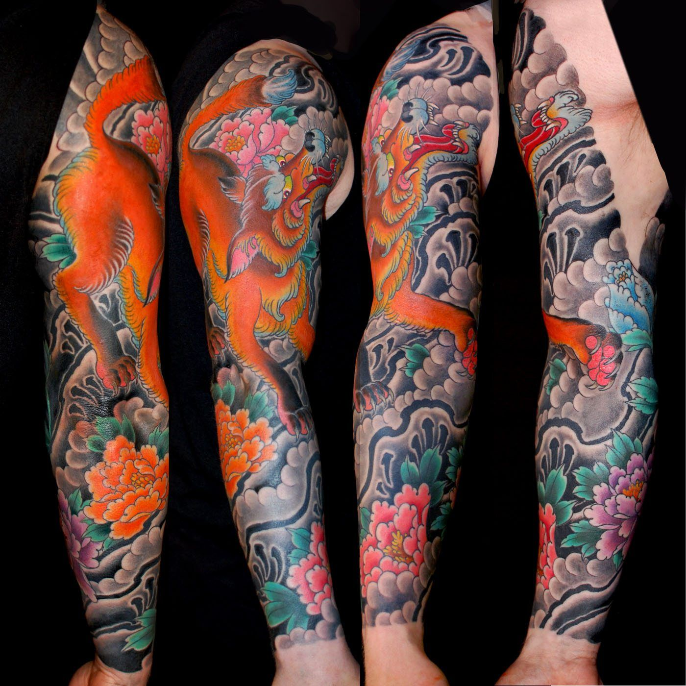 eb290c3d4e37b Animals Flowers Japanese Kitsune Sleeve Tattoo | Cute Animal Tattoo ...