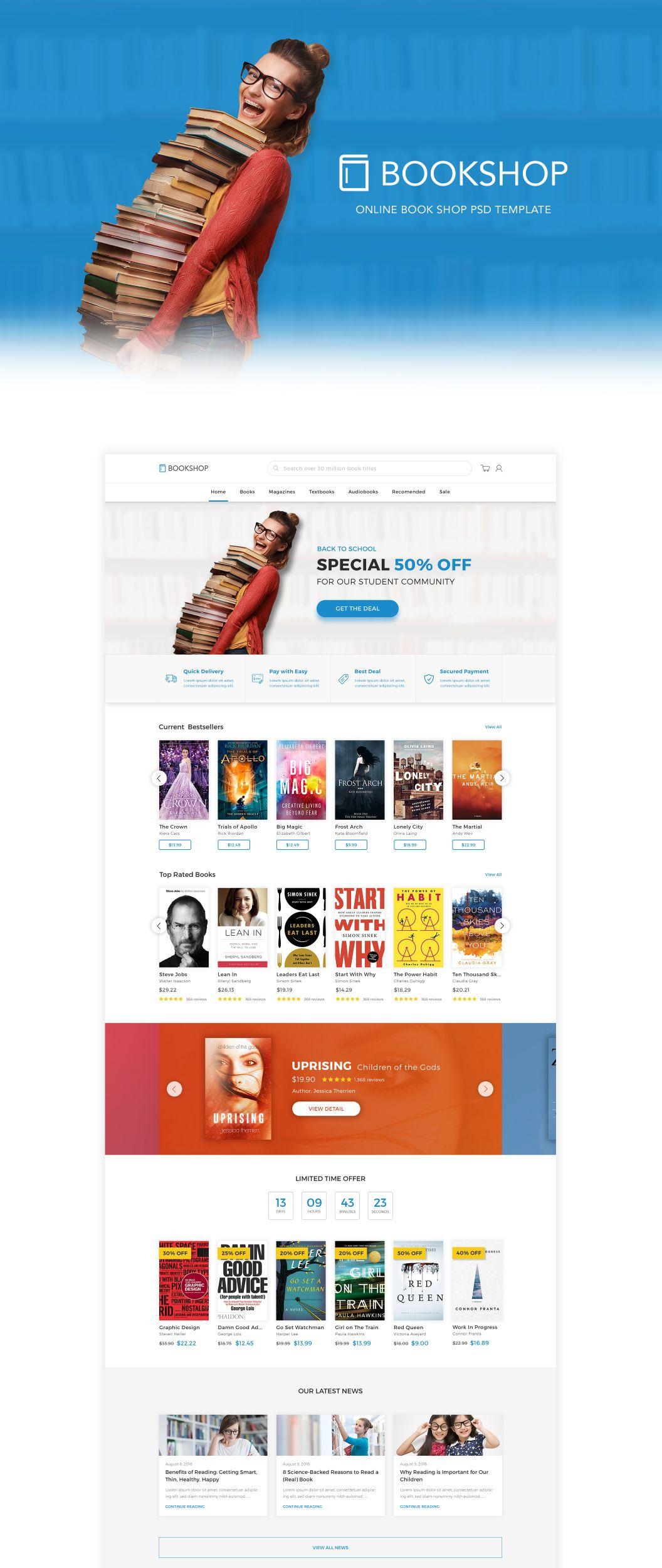 modern fresh online book store template psd max media pixels