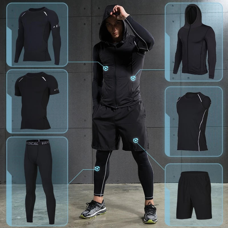 Mens Workout Fitness Set Compression Tights Gym Clothes Moisture Wicking Shorts