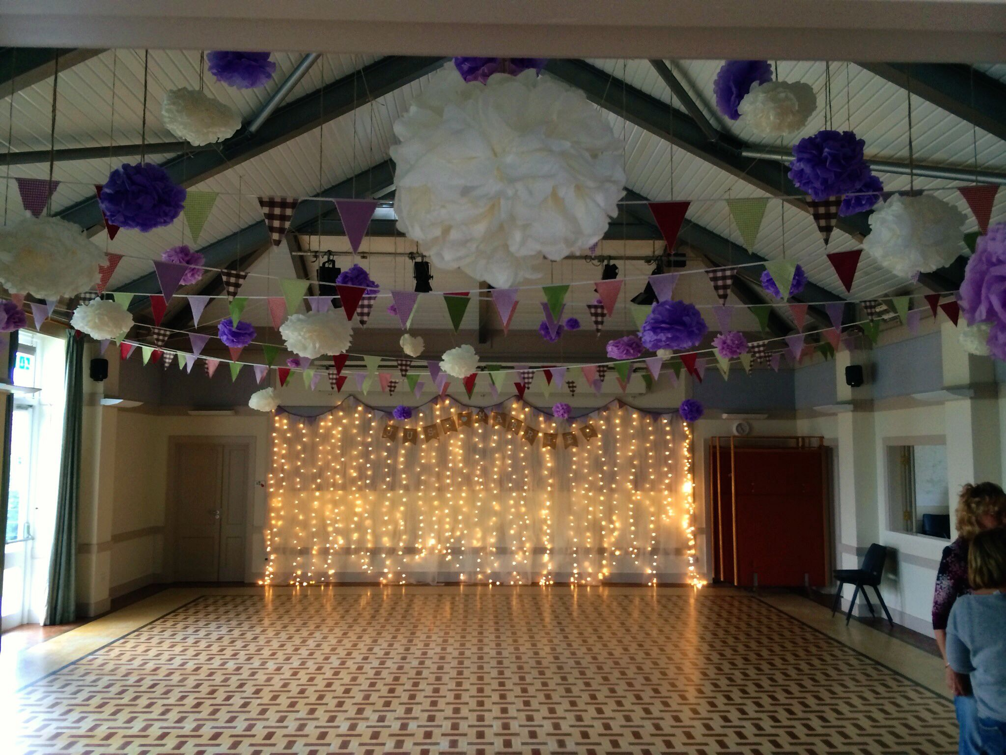 Wedding decorations tulle and lights  Our Village Hall Wedding Fairy light and Tulle backdrop with