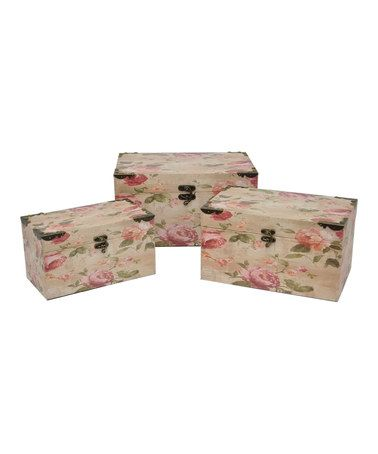 Another great find on #zulily! Rose Wood Box Set #zulilyfinds