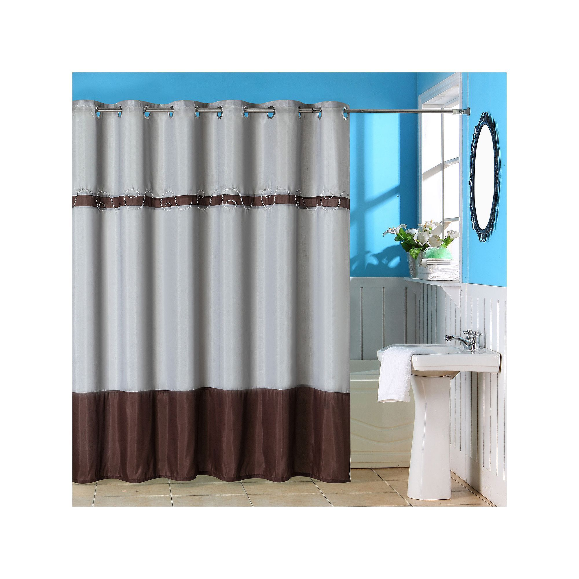 Portsmouth Home Claridge Embroidered Shower Curtain Brown