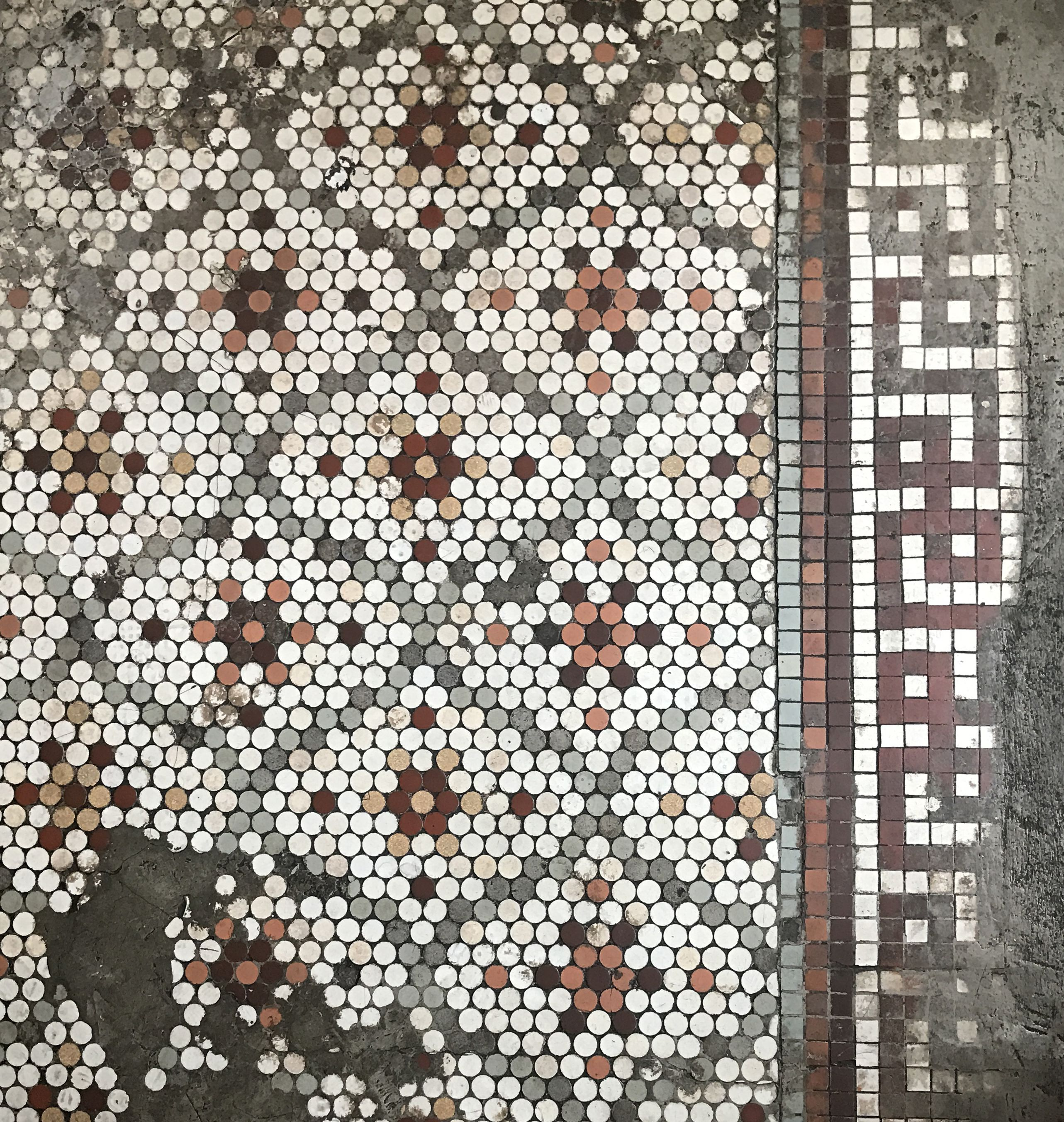 Gorgeous Penny Tile Mosaic Floor From The Early 20th Century
