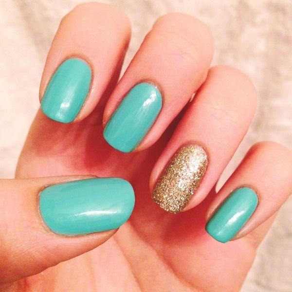 aqua and gold nail inspirations