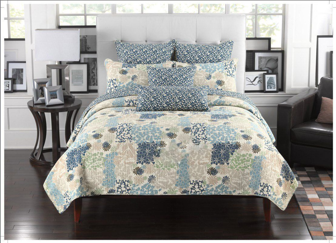 Fancy Collection 3pc California King Quilted Bedspread Coverlet Set Embossed Floral Blue Off White Green Beige New Y In 2020 Bed Spreads Coverlet Set Bedspread Set