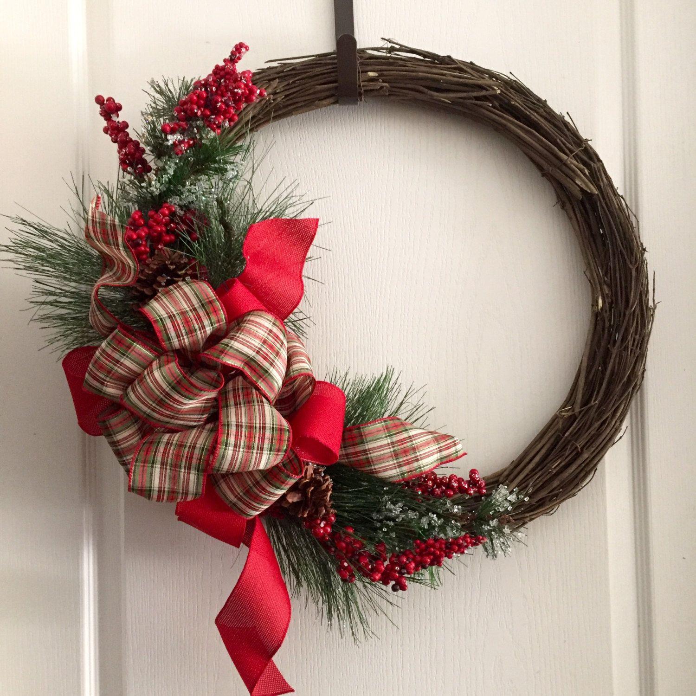 Grapevine Christmas Wreath Christmas Wreath Door Wreath Red Door