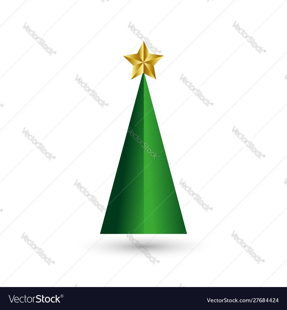 Levitation Christmas Tree With A Xmas Gold Star Template Greeting Card Without New Year S Toys From Green Paper In A In 2020 Isometric Shapes Geometric Logo Leaf Logo