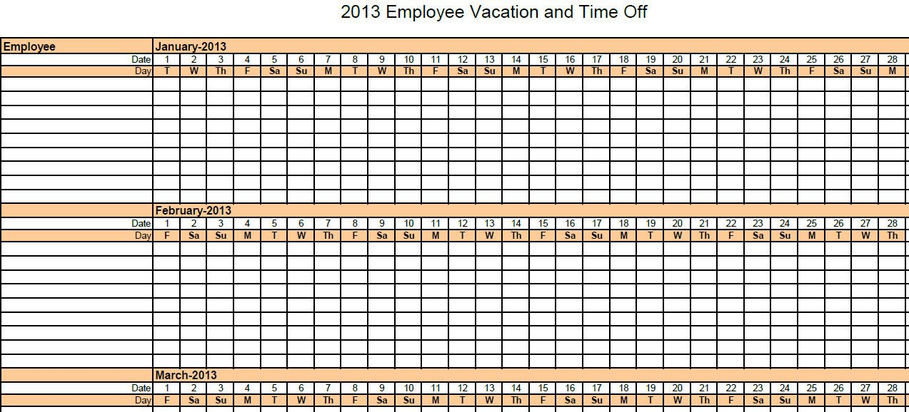 Printable Pdf  Employee Absence Vacation Tracking Calendar