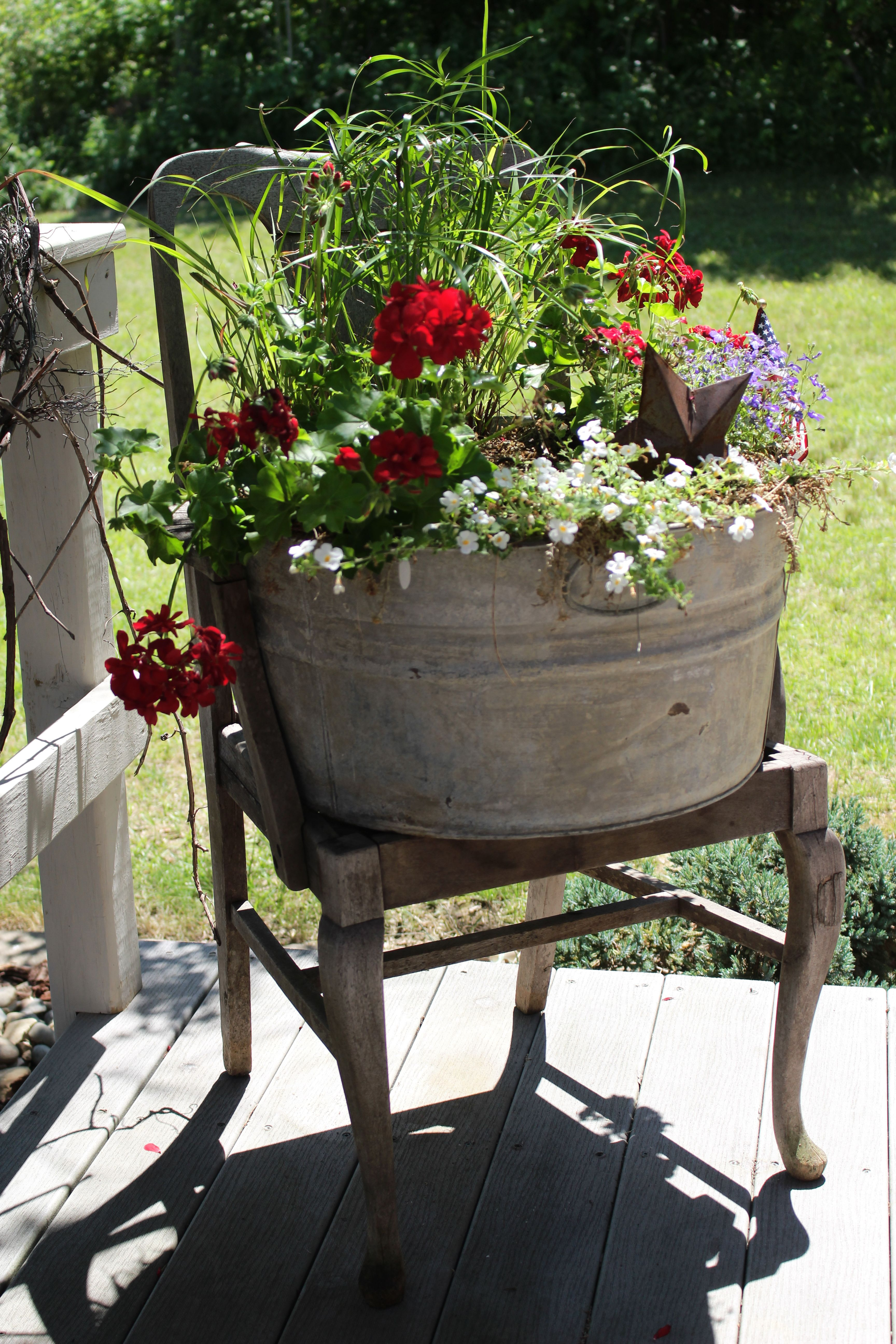 Love My Primitive Flowers In Tub And Chair On My New Deck