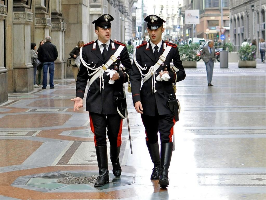 Two members of the italian military police known as the for Italian uniform