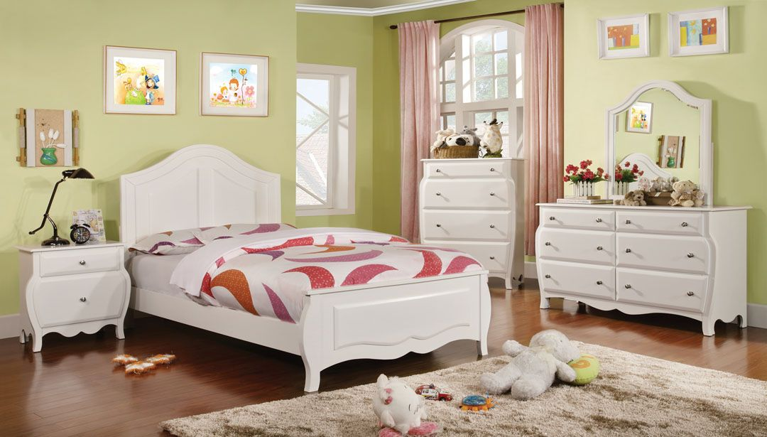 CM7940-1 4 pc roxana white finish wood crown top style ...