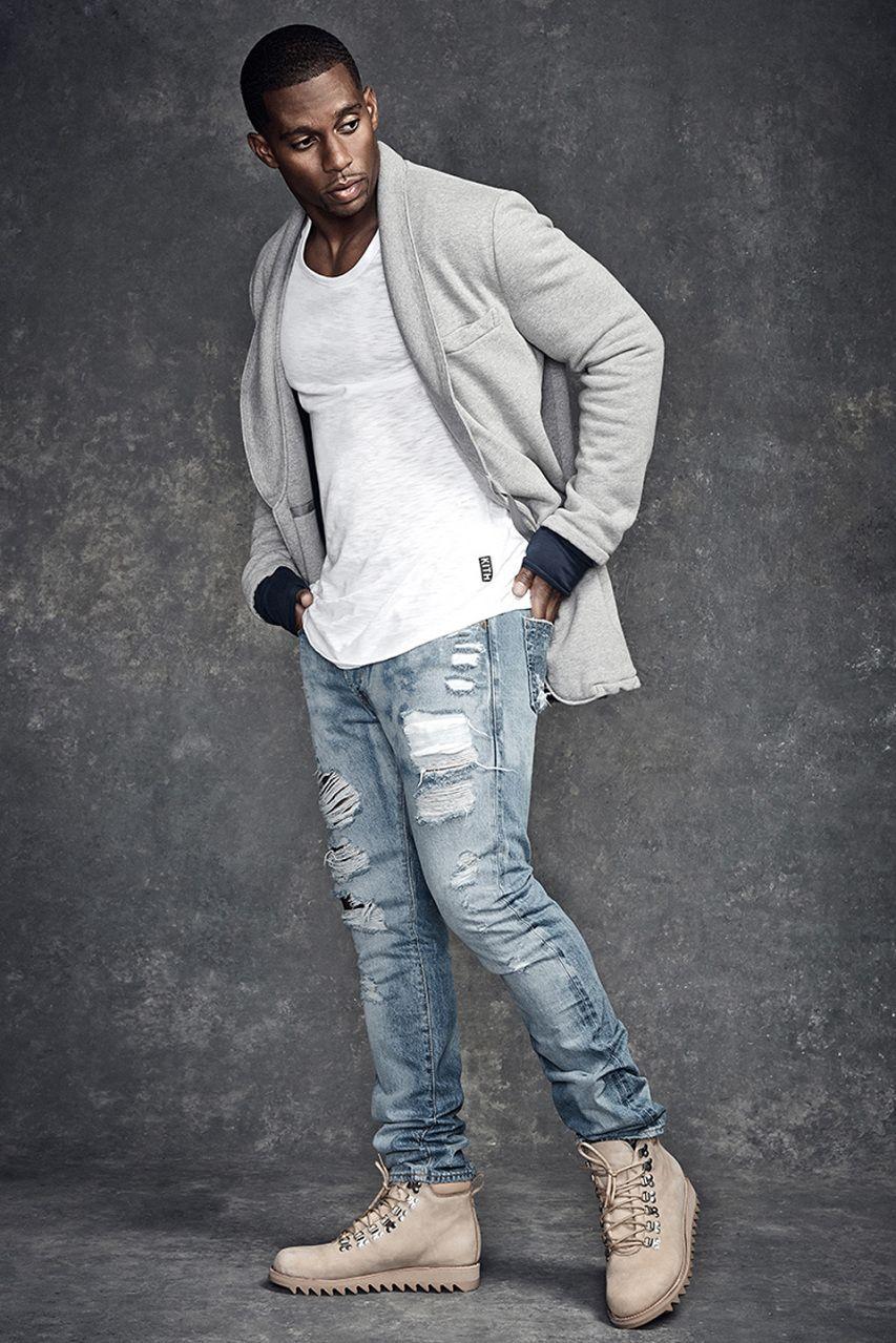 Victor Cruz wearing Grey Shawl Cardigan, White Crew-neck T-shirt ...
