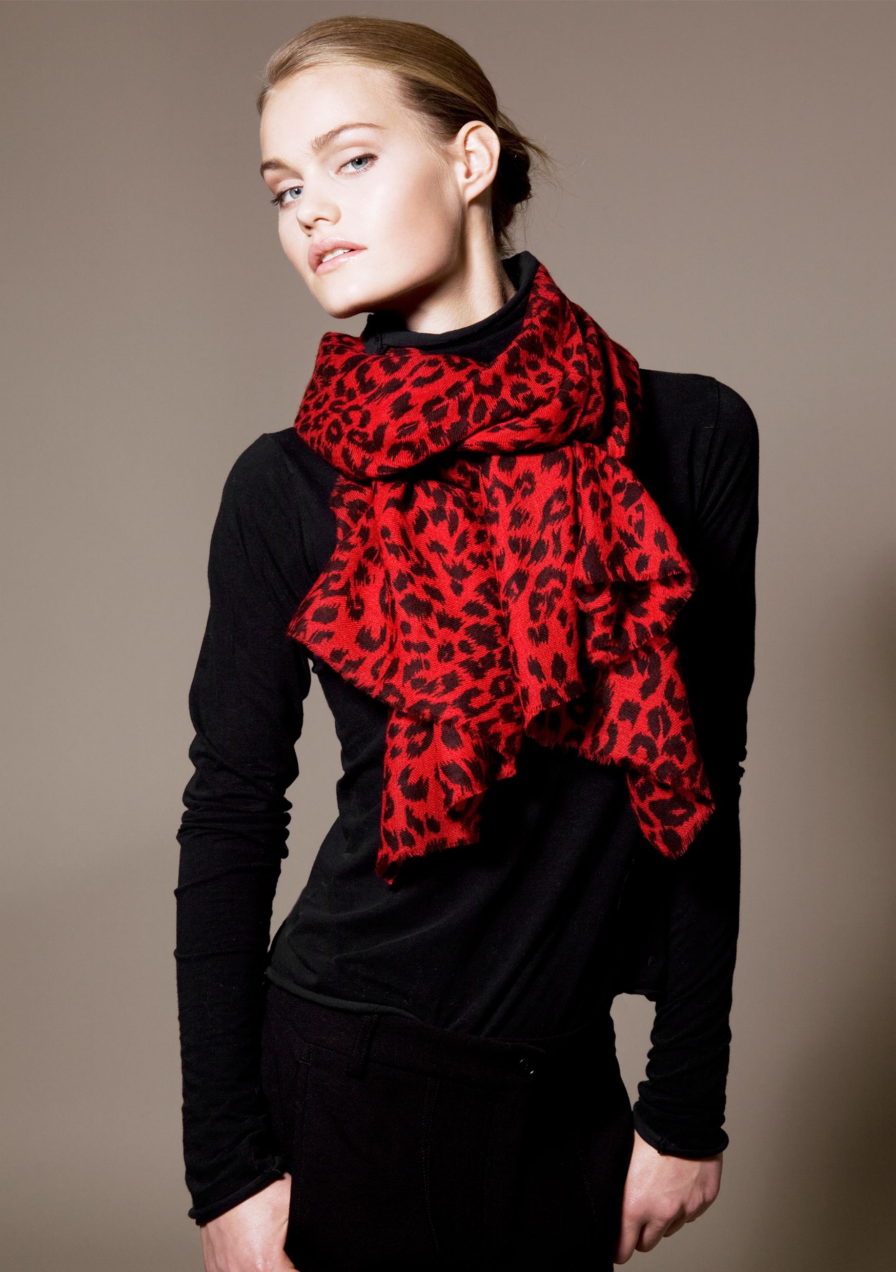 5431792cc51ac Jolie Red Leopard print scarf leopard love | Holiday Attire in 2019 ...