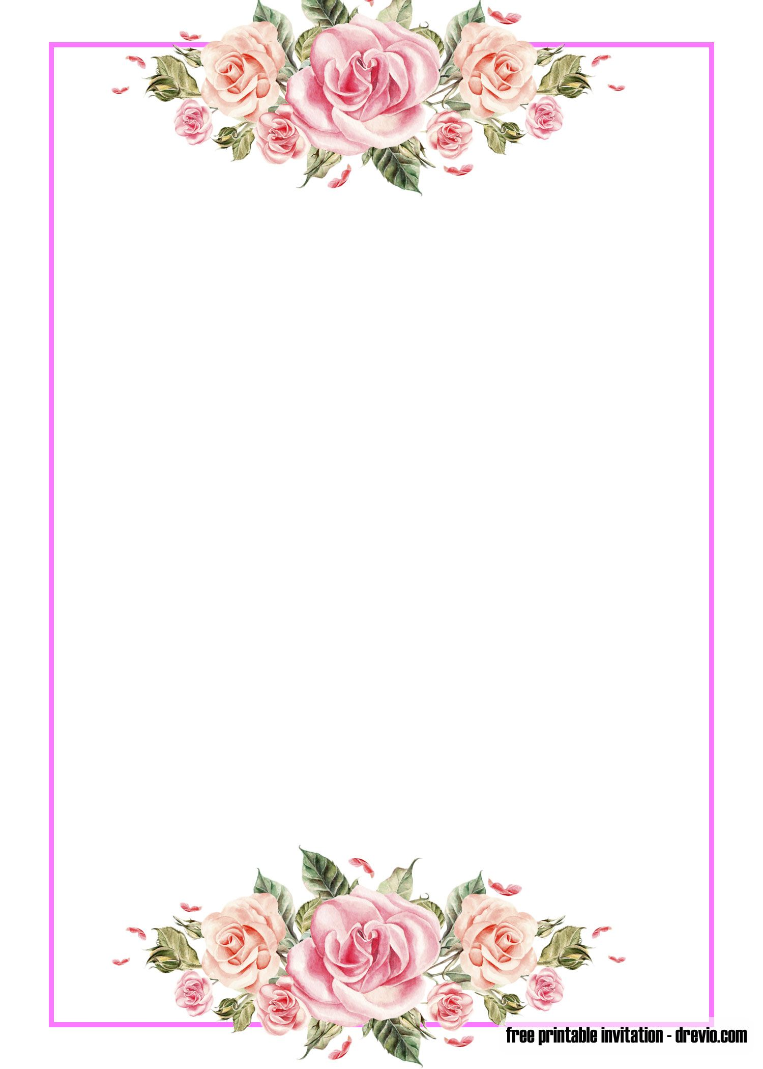 FREE Pink Floral Invitation Templates (With images) Floral invitations template Floral