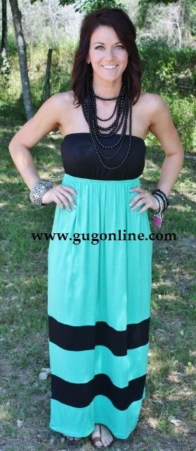 e88f73a8af05 Sippin' On Summertime Mint and Black Maxi Dress Price: $22.95  www.gugonline.com