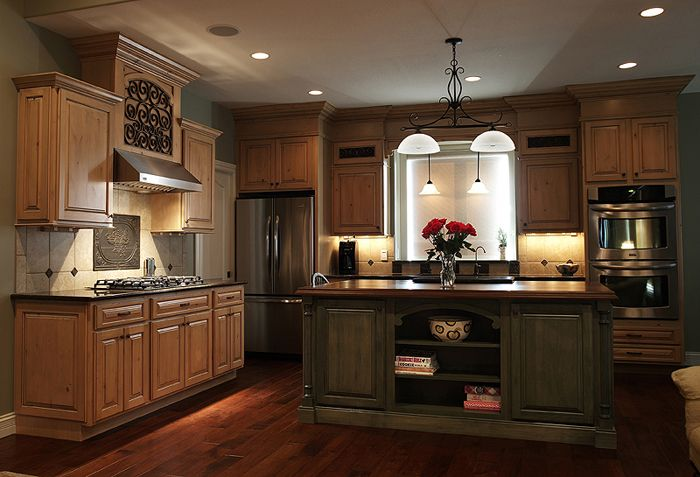 perimeter cabinets caramel knotty alder with mocha glaze Small Kitchen Designs Colonial Mid Century Modern Kitchen Designs