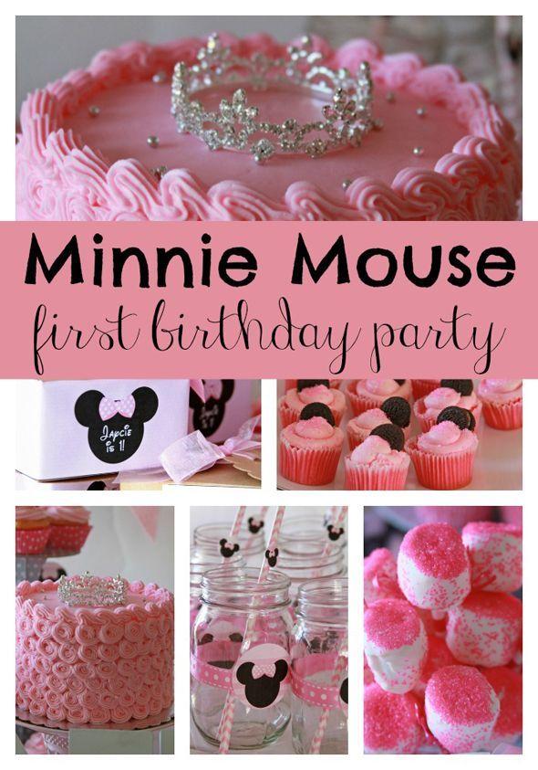 Sweet Minnie Mouse First Birthday Pretty My Party Party Ideas Minnie Mouse 1st Birthday Minnie Mouse First Birthday First Birthdays