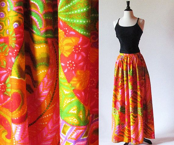 Vintage 60s Psychedelic Maxi Skirt, Long Bright Skirt, Patio Party ...