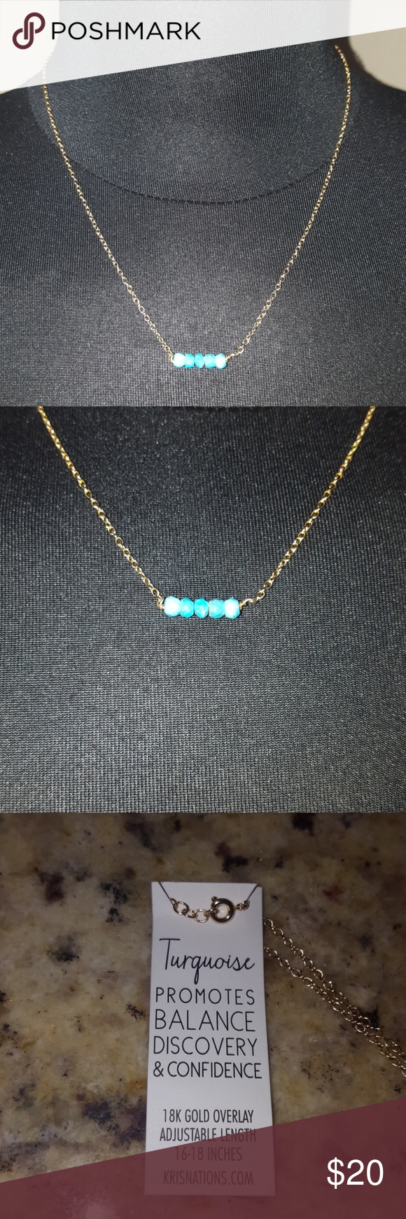 Kris Nations Turquoise Necklace Brand new 18K Gold Overlay 16-18 inches Kris Nations Jewelry Necklaces