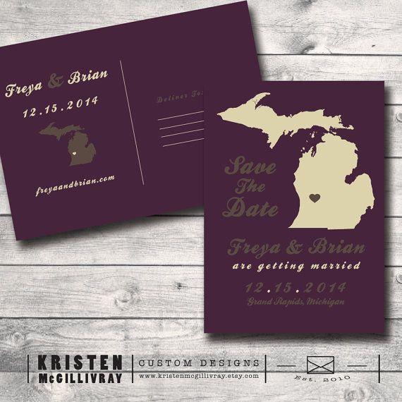 Michigan Save The Date Postcard