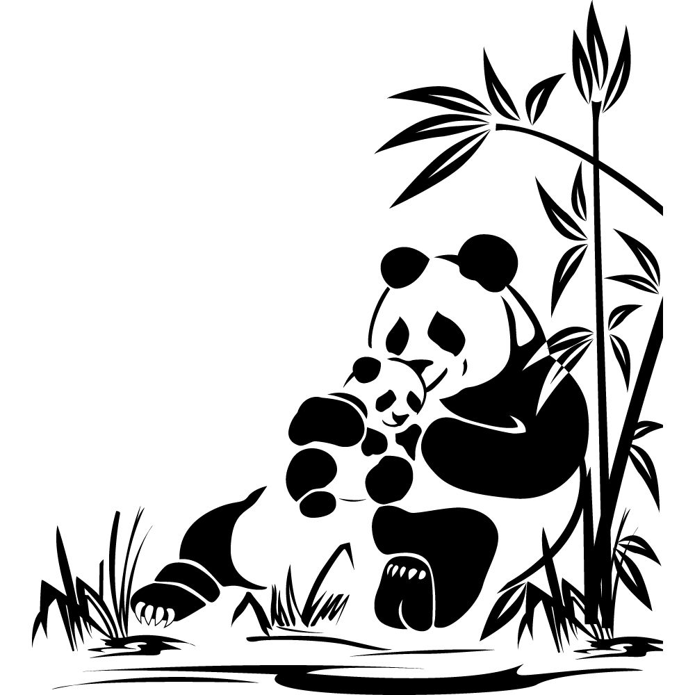 Stickers panda pas cher cameo pinterest panda silhouettes and stenciling - Stickers carrelage pas cher ...