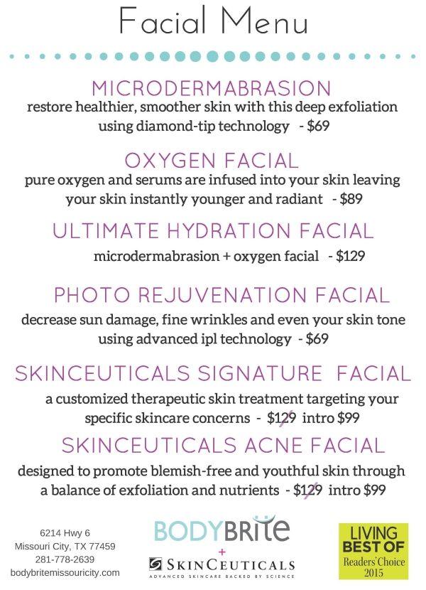 Bodybrite Facial Menu Esthetician Marketing Microdermabrasion Facial Facial Room