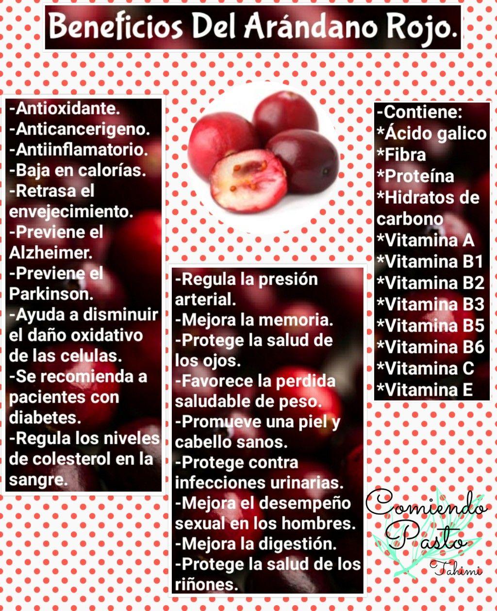 arándano rojo informacion nutricional