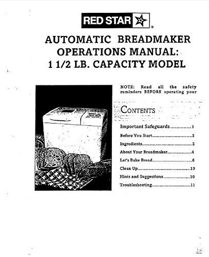 Red Star Bread Machine Maker Instruction Manual Recipes