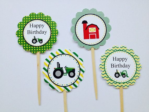 Tractor Farm Barn Cupcake Toppers Farm Party by DKDeleKtables